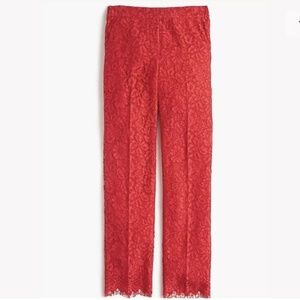 J.Crew Lace Easy Pant in Bright Cerise Red Scallop